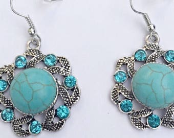 Turquoise And Blue Crystal Tibetan Silver Earrings