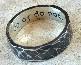 Star Wars Jewelry, Star Wars Gift, Star Wars Ring, Star Wars Band, Do or Do Not There is No Try, Silver Ring