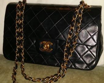 Vintage chanel black lambskin 2.55 double flap