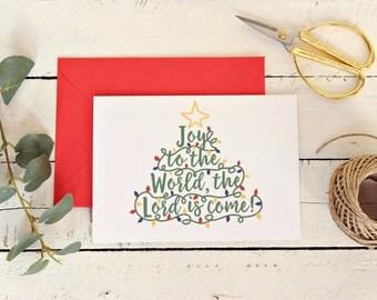 Rustic Christmas Card Pack, Joy to the World Christmas Card Set, Christmas Greeting Card, Xmas Card, Seasons Greetings, Set of 10