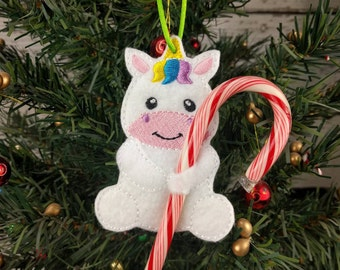 Unicorn Candy Cane Holder Ornament