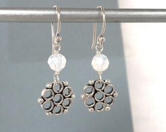 Snowflake Earrings - Silver Snowflakes - Swarovski Crystals - White Opal Earrings - Crystal Earrings - Crystal Jewelry - White Earrings