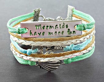 Seashell Bracelet, Mermaid Bracelet, Hand Stamped Jewelry, Quote Bracelet, Nautical Bracelet, Beach Bracelet, Gift for Her, Ocean Jewelry