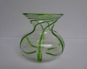 Small Stuart Crystal Art Nouveau Glass Vase. Early 20th Century