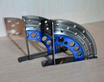 Brake Disc Motorcycle bookends Metal art . Desk - House Accessory