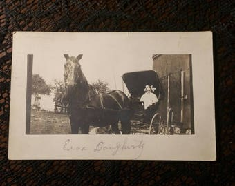 Antique RPPC picture postcard of a beautiful Edwardian girl and horse