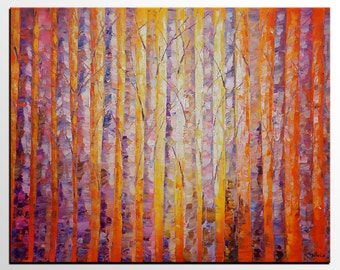 Oil Painting, Original Art, Wall Art, Abstract Art, Birch Tree Painting, Abstract Painting, Canvas Art, Canvas Painting, Landscape Painting