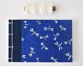 Small Japanese Notebook, hand bound, Chiyogami paper, dragonflies, dark blue, white, stab binding - Journal, Diary, Sketchbook, Travel Book