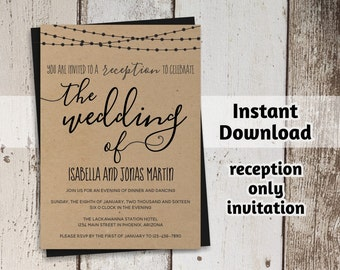 Reception Only Invitation Template - Rustic Printable Wedding Reception Invitation - Instant Download Digital File - Editable PDF