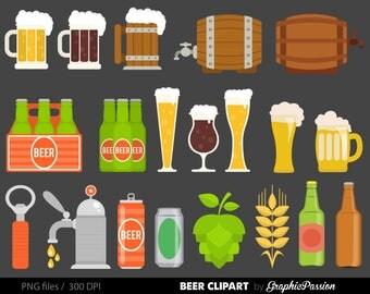 Beer Clip Art Graphics Drinks Clipart Scrapbook Beer Bottle Can Glass Digital Download Transparent