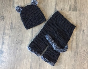 New Handmade Crocheted Baby Cat Outfit Costume Halloween Pants + Beanie RTS Made in the USA