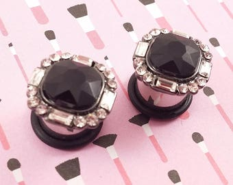"Plugs Gauges - Square Black Crystal and Silver Plugs - 2ga (6mm), 0ga (8mm), 00ga (10mm), 7/16"" (11mm), 1/2"" (12mm)"