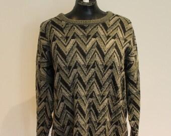 vintage grey geometric pattern jumper
