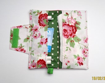 Pouch / case for panty liners / bags for tampons / pouch for panty liners and tampons, hygiene pouch / rose / red