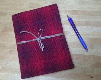 Harris Tweed Boswell Notebook - A5 size - Red Check Tartan Leather Wrap Tie - Handmade writing journal wedding guest book