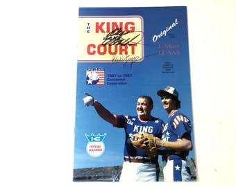 1987 The King and His Court 4-Man Softball Centennial Souvenir Autographed Original Signed Eddie Feigner Dave Booth ~ Decades Dance