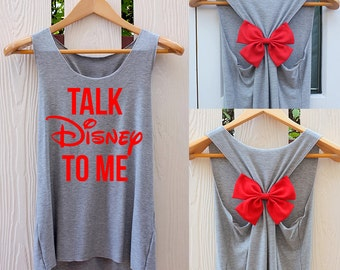 Talk Disney To Me Bow Tank Top. Racerback bow. Disney shirt. Tank Top. Disney Tank Top. Burnout Shirt. Work out tank top. Disneyworld tank