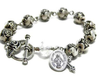Rosary Bracelet, Catholic Jewelry, Miraculous Medal bracelet, St. Therese, Catholic Bracelet, Silver rose beads, Vintage Rosary Repurposed