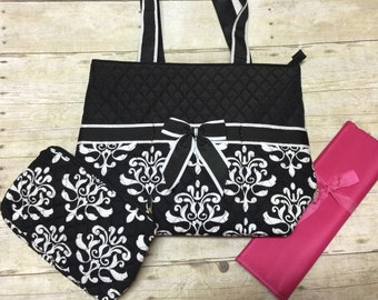monogrammed diaper bag 3 piece set personalized black paisley