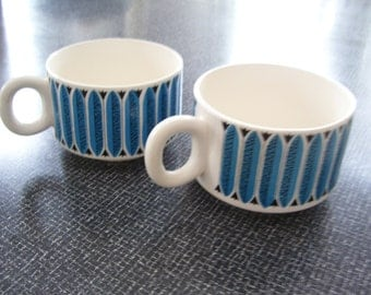 Soup Mug, Blue White Soup Mug, Soup Bowl Japan Set of 2 Vintage