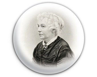 Elizabeth Cady Stanton Feminist Suffrage Vote Women Pinback Button // Pin // Badge