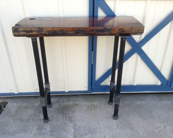 Side or Entry Console Table with Industrial Pipe Legs Reclaimed Wood Urban Loft NATURAL