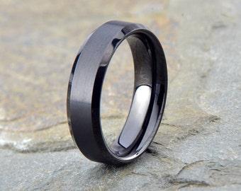 Black Brushed Tungsten Wedding Band, Mens Brushed Tungsten ring, 6mm, Polished Beveled Edge, Custom Laser Engraving, Mens Ring, Mens Band