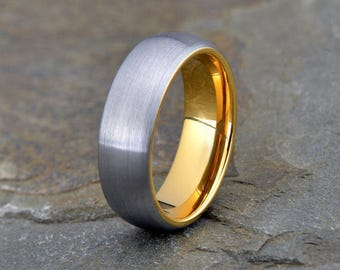 Tungsten Wedding Band, Brushed Domed Ring, Mens Women's Tungsten Ring, Tungsten Yellow Gold Plated Band, 7mm, Anniversary Ring