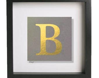 Hand Gilded Gold Initial/Capital Letter 'B' in Deep Black Frame. ALL Letters Available. Available in Copper & Silver. Can be Personalised