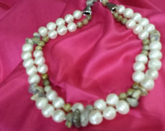 Fossil Coral, Blue Chalcedony and freshwater pearl two strand necklace