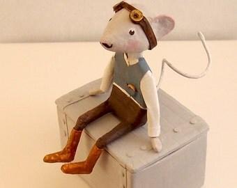 Sculpture papier mâché, little mouse, box treasures, style steampunk, poetic decoration, interior decoration, paper mache, OOAK