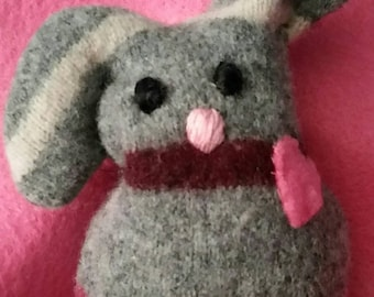 Bunny Pocket Pet Stuffed Doll Soft Sculpture Needle Sculpted Upcycled Wool