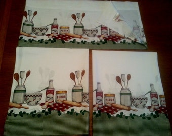 Better Homes & Gardens Cotton Kitchen Curtains and Valance Tier Set Country Shabby Chic Retro Rustic Décor- Vintage