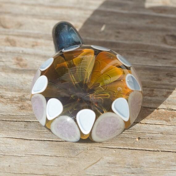 Gold Fume Implosion Dot Border Glass Pendant
