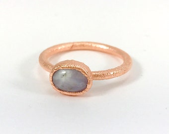 Raw Stone Ring, Moonstone Ring, Raw Crystal, Electroformed Ring, Copper Ring, White Gemstone, Solitaire, Polished, Healing, One of a Kind