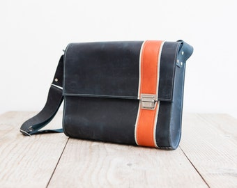 blue Messegerbag made from leather    high quality satchelbag        blue Business Bag     handmade in Germany