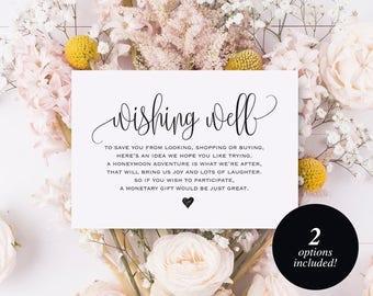 Wishing Well Card, Wedding Wishing Well, Wishing Well Printable, Wedding Insert, Wish Well, lieu of gifts, PDF Instant Download #BPB203_25