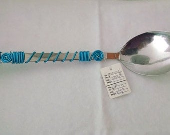 Hanging Wire Wrapped Serving Spoon - Turquoise