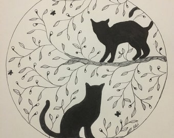 Cats - Feline Wall Art Print of Original Ink Drawing - Limited Edition Signed Illustration