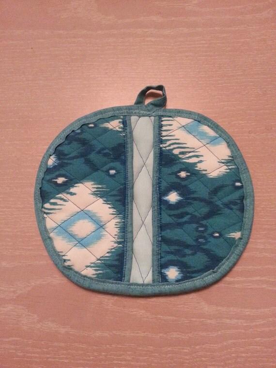 """Handmade """" Turquoise-Geo Print """" Potholder/Trivet"""