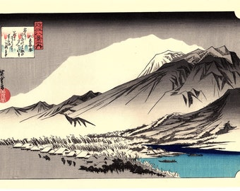 "Japanese Ukiyoe, Woodblock print, antique, Hiroshige, ""Twilight Snow at Hira"""