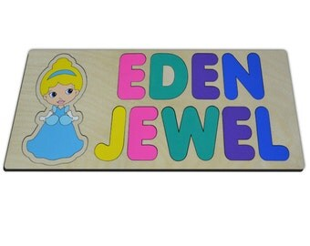 Princess in Blue Personalized Wooden Two (2) Name Puzzles Kids Toy, Puzzle Gift Girl Christmas, Birthday, Baby Shower 473937942