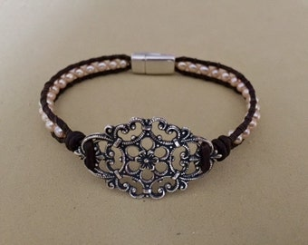 Filigree and Pearl Wrap Bracelet