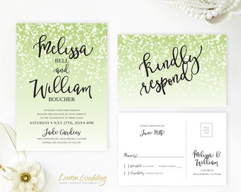 Green wedding invitation with rsvp postcard | Simple sparkly wedding Invitation printed on shimmer cardstock | Modern wedding invitations