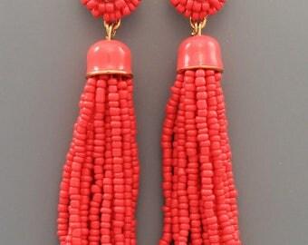 Coral Pink Seed Bead Tassel Earrings