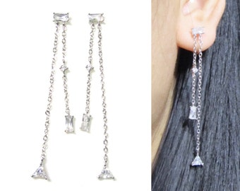 Crystal Clip on earrings 14L Gift for her Wedding rhinestone clip on earring Non Pierced earrings Bridal clip on dangle earrings Fringe clip