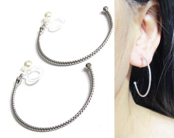 34mm Twisted Cable Clip on Hoop Earrings, 12F, Silver Hoop Clip on earrings, Invisible Clip on earrings, Gift for her, Non Pierced earrings
