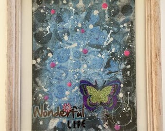 Mixed Media Art, Framed Art, wall art, gift for her, home decor, painting, handmade, one of a kind, art, mixed media collage, wonderful life