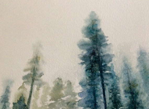Watercolor trees, pine trees, Misty trees, Misty pines, Misty landscape, landscape painting, landscape watercolor, Pines, tree painting