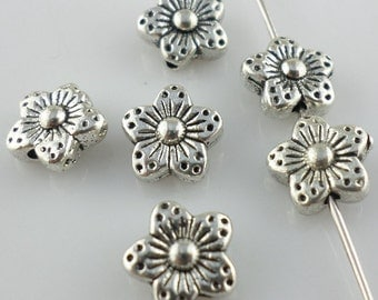 FREE SHIPPING 50Pcs Silver Tone Flower Spacer Beads 9mm